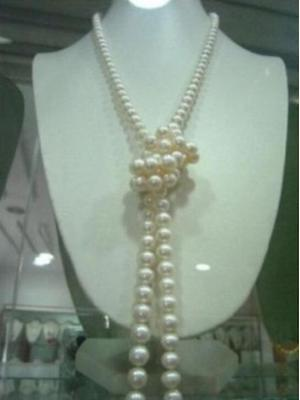 """Natural 9-10mm AAA white south sea pearl necklace 36"""""""