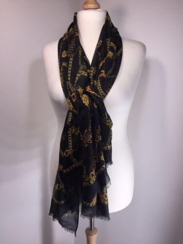Chainprint Black Gold Pashmina Scarf Softest Feel Long Oversized NEW