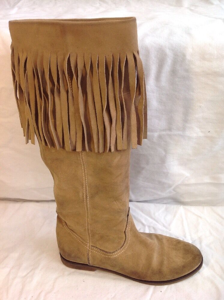 Ladies Brown Knee High Suede Boots Size 37