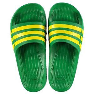 f1259bddd9e53 NEW Adidas Mens Duramo Sliders Flip Flops Green Yellow SIZE FROM 6 ...
