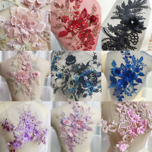 3D-Flower-Embroidery-Lace-Bridal-Applique-Pearl-Beaded-Tulle-DIY-Wedding-Dress