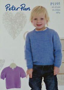 KNITTING PATTERN Childrens Cardigan /& Multi Colour Jumper 4Ply Peter Pan 1196