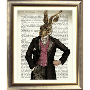 DICTIONARY-ART-PRINT-ON-ANTIQUE-BOOK-PAGE-HARE-Animal-Vintage-Old-RABBIT-Picture