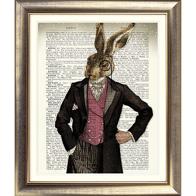 DICTIONARY ART PRINT ON ANTIQUE BOOK PAGE HARE Animal Vintage Old RABBIT Picture