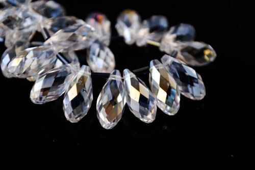 10pcs Teardrop Glass Crystal Spacer Beads Craft Jewelry Pendant 8x16mm Charms