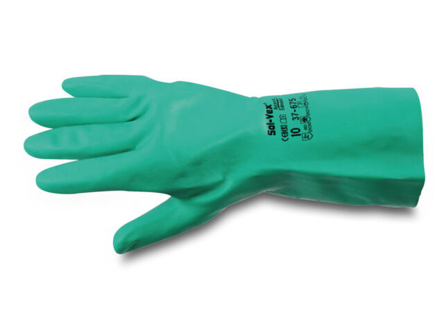 Ansell AlphaTec 37-675 SOLVEX Nitrile Chemical Resistant Safety Gloves Gauntlets