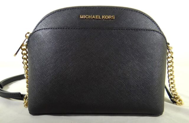 Michael Kors Jet set  Black Saffiano Leather Emmy Dome Cross Body Bag