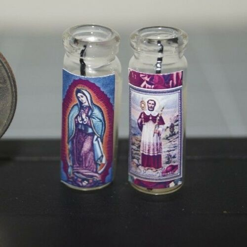 GUADALUPE & San Ramon Nonato Lot x2 Miniature Dollhouse Prayer CANDLES Novena