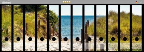 Wallario Ordnerrücken selbstklebend 12 breite Ordner Auf dem Sandweg zum Strand