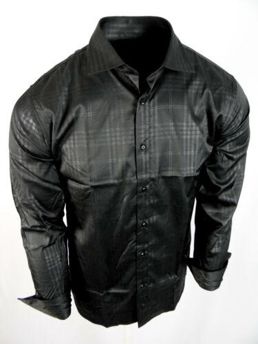 Mens Toku Premier Shirt Black Plaid 2 Woven Cotton Stretch Slim Fit Button Up 26