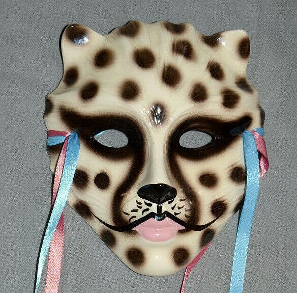 Vintage 1987 NOLA Ceramic Face Mask Wall Decor Spotted Cat Leopard