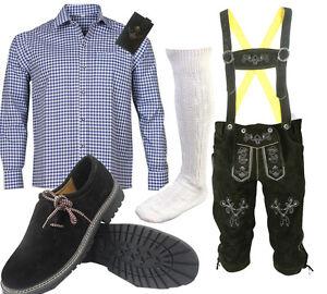 Herren-Trachten-Set-6tlg-Lederhose-mit-Bayerische-Hemd-Schuhe-Socken-SLHB02