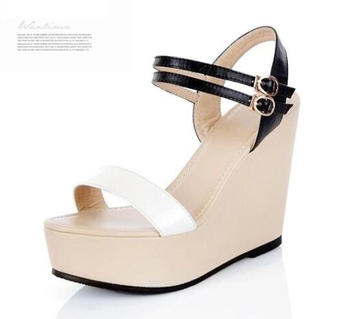 Sandali donna bianco nero beige zeppa plateau 11 cm eleganti comodi 8144