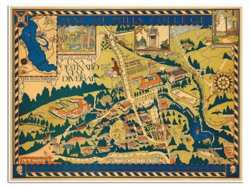 MILLS COLLEGE Campus Guide MAP Oakland California University circa 1920-24x32