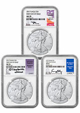 2017 Silver Eagle Set of 3 NGC MS70 First Day of Issue Signed Labels SKU45066