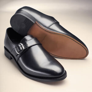 Samuel-Windsor-Mens-Shoes-Classic-Monk-Genuine-Leather-Slip-On-Buckle-Size-5-14