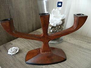 Kerzenleuchter-Tischleuchter-3armig-Eisen-Antik-Stil-Kerzenstaender-massiv-braun