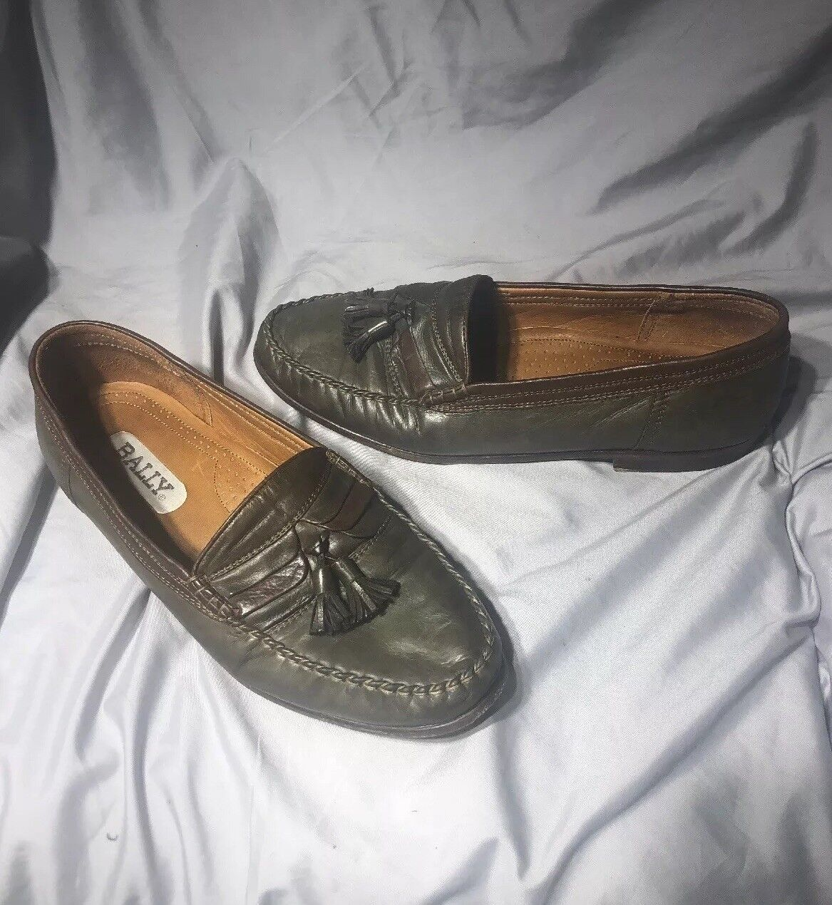 Bally Mens OLIVE GREEN soft Leather Slip-On Business Loafers Drivers Moccasin 12