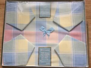 Vintage-Pastel-Checked-1950-s-Tablecloth-amp-Napkins-45-x45-Boxed-Rayon-Irish