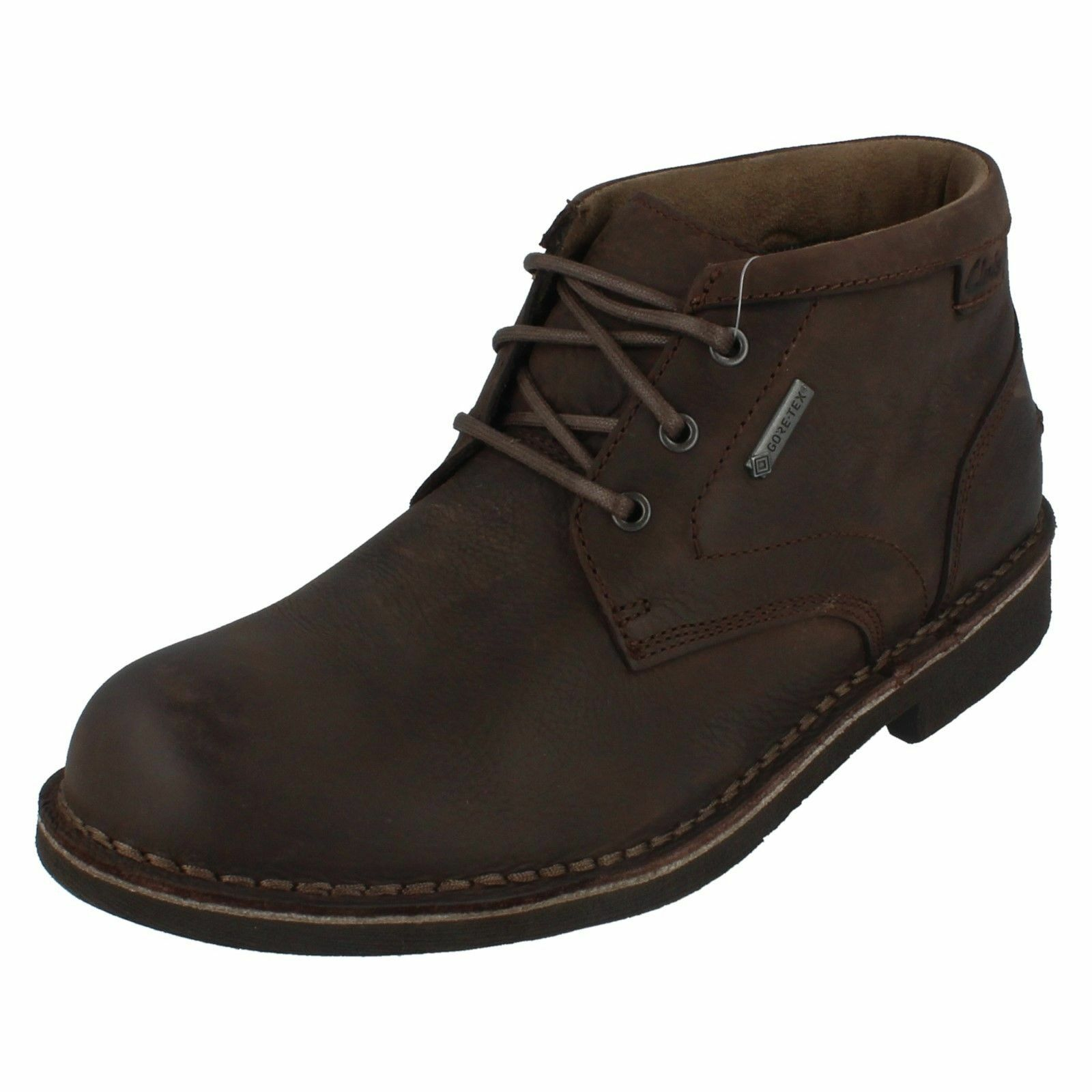 Clarks Mens Lawes Mid GTX Dark Brown Leather Ankle Boots G Fit (R29A)