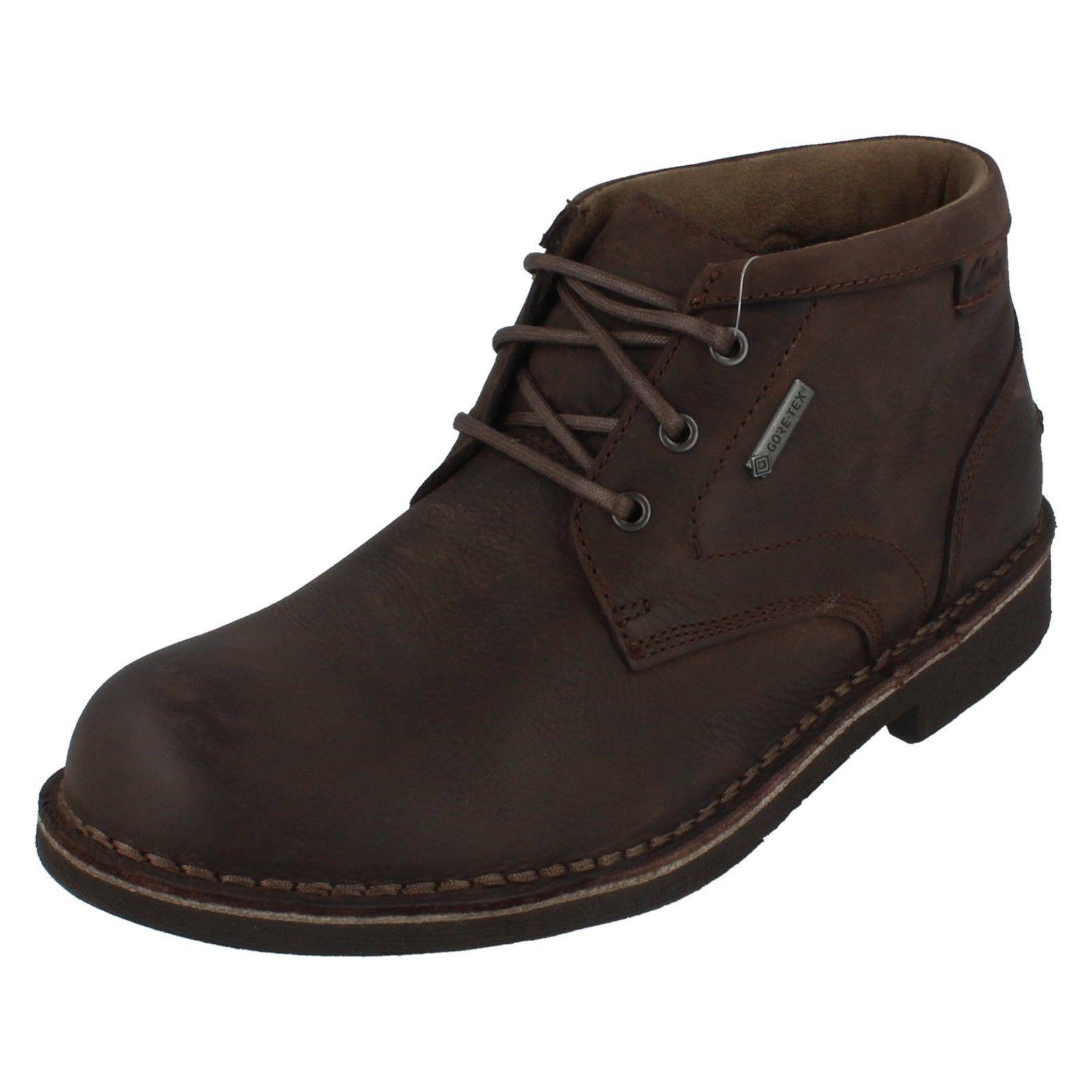 Clarks Mens Lawes Mid GTX Cuero Marrón Oscuro botas al Tobillo G Fit (R29A)