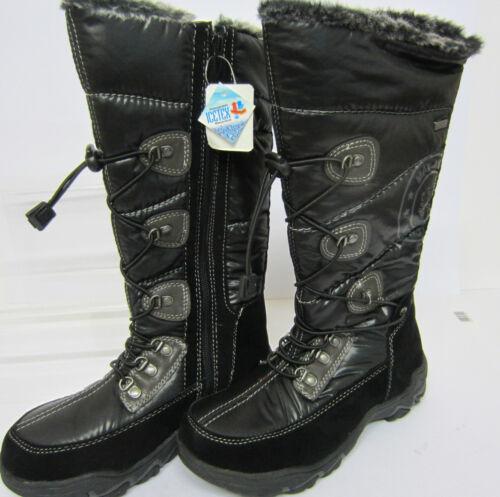 R22F Ice-Tex Girls//Ladies Black Long Warm Winter Boots Sizes EU 30 X 39