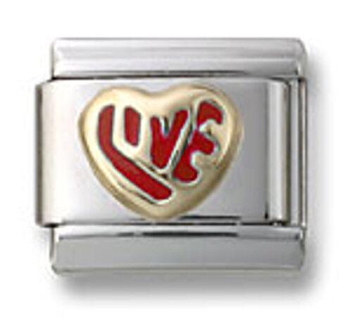 Hearts LOVE Italian Charms 9mm Stainless Steel Modular Links Bracelet Enamel 18k
