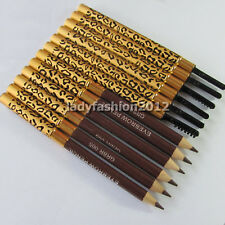 12PCS Leopard Brown Eyebrow Eyeliner Pencil Dark Coffee Color Eye brow liner Pen