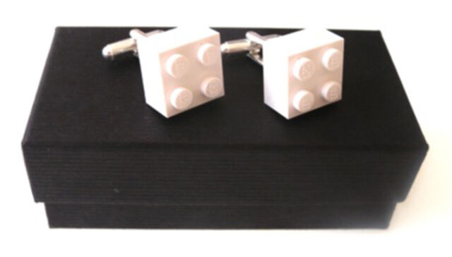 LEGO® BRICK CUFFLINKS - SILVER PLATED - FREE GIFT BAG - 1ST CLASS FREE POST