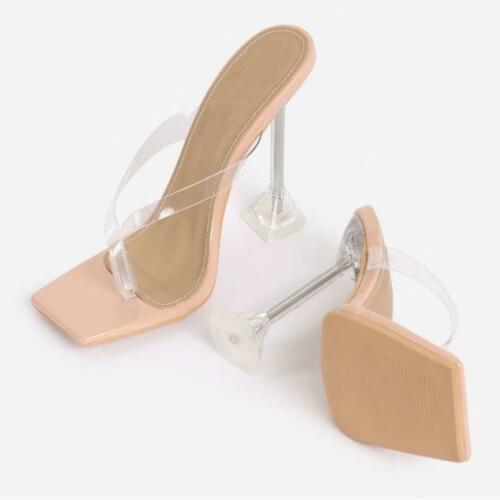 Details about  /NEW Lemonade Jalen Nude Square Toe Thong Clear Perspex Pyramid Heel Mules