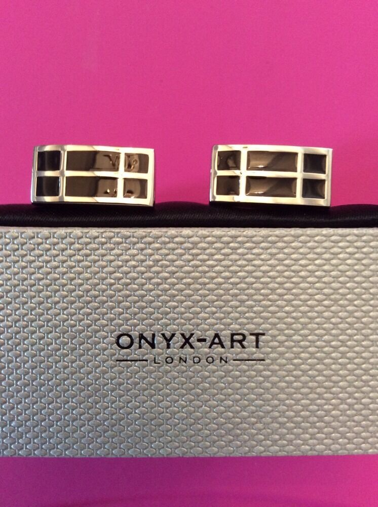 **REDUCED** Rectangle Black And Silver Cufflinks by Onyx Art CK146