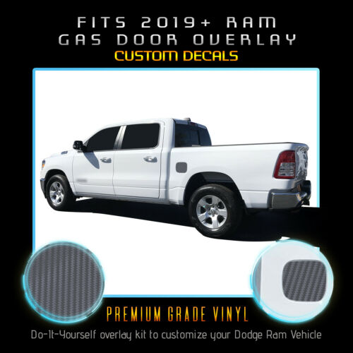 For 2019 2020 Ram 1500 Gas Door Square Overlay Pre Cut Decal Matte Carbon Fiber