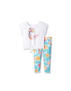 French-Toast-Baby-Girls-039-Short-Sleeve-Tie-Front-Tee-Capri-Legging-Set-24M