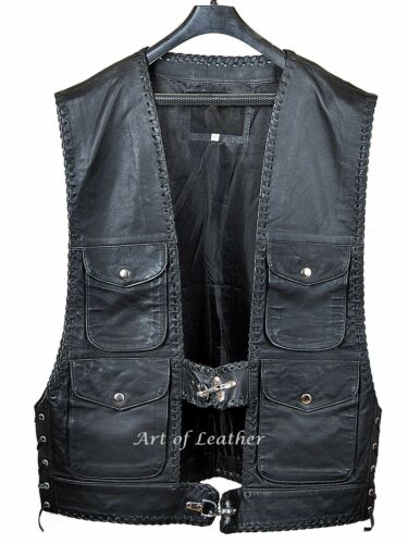 UK Men/'s Real Leather Waistcoat Motorcycle Biker Style Black Gillet Harley Vest