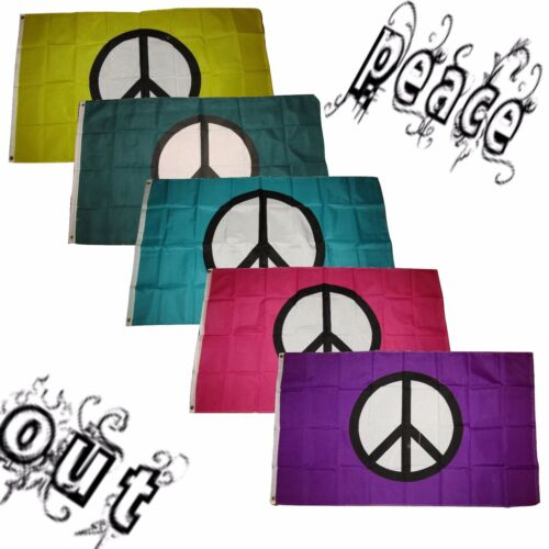 3x5 3/'x5/' Wholesale Peace Out Set Yellow Green Teal Pink Purple Symbol 5 Flags
