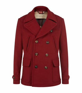 cc7debe30 NWT Burberry Brantford Double Breasted Pea Coat Red Maroon Large L ...