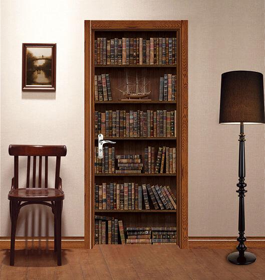3D Bücherregal 416 Tür Mauer Wandgemälde Foto Wandaufkleber AJ WALL DE Lemon