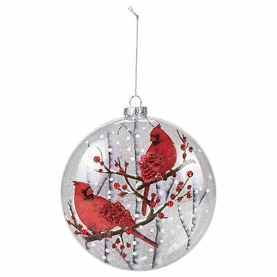 Cardinal Disc Rosy Red 5 75 X 2 5 Glass Holiday Decorative Hanging Ornament Ebay