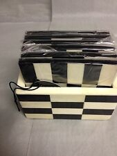 CHECKERD BLACK AND WHITE COASTERS SET WITH HOLDER ,SET OF 6 -MADE IN  INDIA