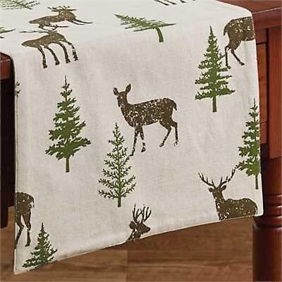 Table Runner 72 Oh Deer By Park Designs Christmas Pine Tree Ebay
