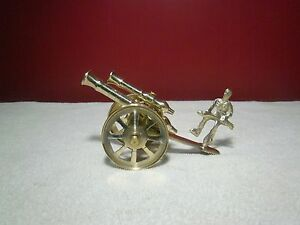 Vintage-Brass-Double-Barrel-Cannon-Soldier-Canon-Military-Rotating-Wheels