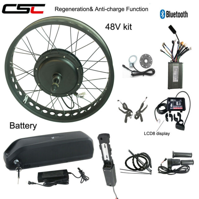 26 Fat Tire Electric Fat Mountain Snow 36V 250W eBike Conversion Kit 48V 1500W