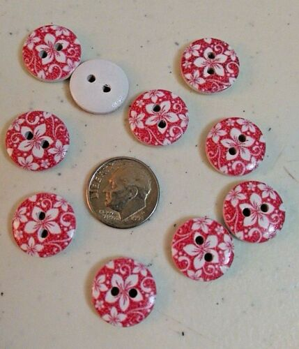 """20 FLOWERS or STARS 2-hole White Wood Buttons 5//8/"""" 15mm Scrapbook Craft 6475"""