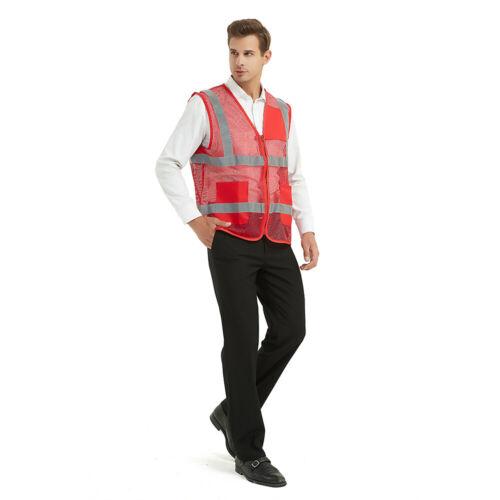 GOGO Unisex US Big Mesh Volunteer Vest Zipper Front Safety Vest with Reflective
