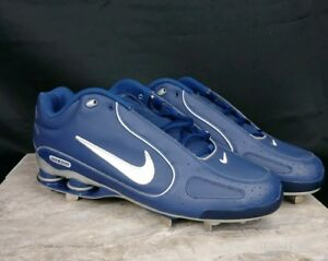 outlet store 42fb6 94dc6 Image is loading Nike-Shox-Lace-Up-Metal-Baseball-Sports-Blue-