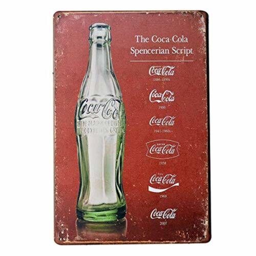 Coca Cola Metal Script Heritage Tin Sign Retro Vintage Coke Posters 8x12