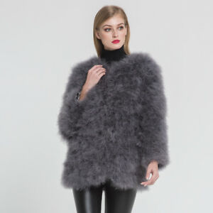 3a194df664 Women Real Ostrich Fur Coat Warm Fluffy Jacket Turkey Feather ...