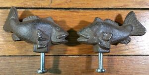 2 FISH Cast Iron Antique Style RUSTIC Handle Knobs Pull Door Drawer Crafts