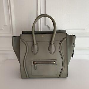 Celine-Mini-Luggage-Handbag-In-Smooth-Calfskin-Light-Olive