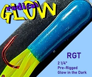 "🐟 Radical Glow Tube RGT 2¼""  Chartreuse/Blue Glow Pre-Rigged Soft Tube Bait"